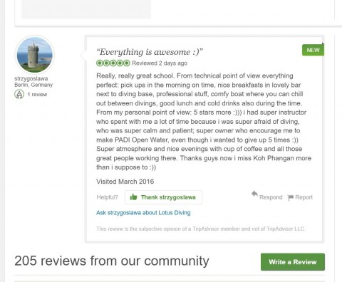 Tripadvisor review for Lotus Diving